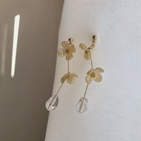 Vintage acrylic yellow flower earrings for women accessories...