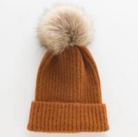 새로운 패션 가을과 겨울 따뜻한 여성의 니트 모자 야생 큰 머리 볼 할로윈 모직 모자 도매 흑백 단색을 혼합 캐시미어