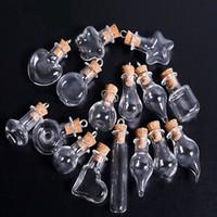 Belle petite bouteille de verre minuscule verre vide Veillet Souhaitant un flacon avec bouchon de liège 25mm mini conteneur