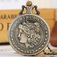 Бронзовый Классический американский Монета Морган полдоллара Карманные часы Аналоговые кварцевые часы цепи ожерелье подарков