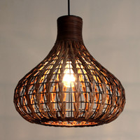 Southeast Asia Rattan garlic Dining Room Ceiling Pendant Lig...