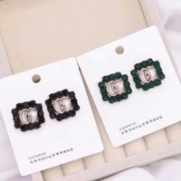 Wholesale Hollow Brand Letters Ear Studs Black Green Crystal...