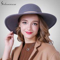 Brim pungente chapéus Sedancasesa Moda largura para mulheres 100% australian lã elegante chapéu disquete feminino fita fw012487b