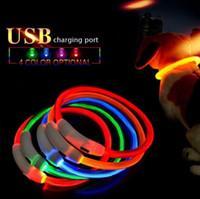 USB 충전 애완견 칼라 개 충전식 LED 튜브 깜박이 야간 개 목걸이 빛나는 안전 강아지 고양이 고리 재사용 가능