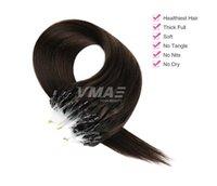 VMAE kein Verschütten russische Remy Virgin Doppel Gezeichnet Micro Loop-Ring Silk gerade # 27 # 60 # 613 # 1B Haar 0.5g * 100stand Haarverlängerungen