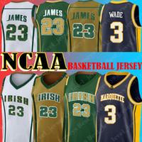 NCAA Dwyane 3 Wade Jesrey Marquette College Lebron 23 James St. Vincent High School Jersey