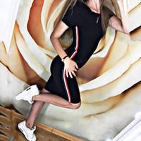 Kadınlar Seksi İnce BODYCON Elbise Nightclub Siyah Şarap kısa Kol Lady Parti Kılıf Diz boyu Bandaj Polyester Düz Elbise kırmızı