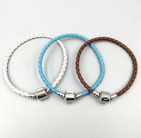 M 20CM Autentico braccialetto in pelle intrecciata con timbro originale in argento sterling 925 Adatto a braccialetti con ciondoli Pandora Gioielli moda fai-da-te