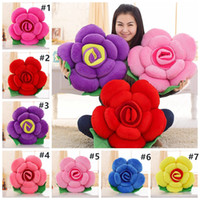 3D Rose Stuffed Plush Rose Flower Back Cushion Office Sofa B...
