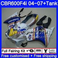 Body pour Honda CBR600 FS CBR 600F4I 2004 2006 2006 2007 281HM.40 CBR600 F4I CBR 600 F4I Rothmans Bleu Hot CBR600F4I 04 05 06 07 Kit de carénage