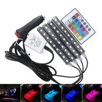 LOT * 4pcs Car RGB LED Strip Luz LED Strip Luzes Cores Car Styling decorativa Atmosfera Lâmpadas Car Light Interior Com 12V remoto