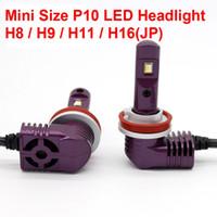 1 세트 초소형 미니 크기 CSP 칩 H8 H9 H11 P10 LED 헤드 라이트 올인원 1 : 1 오리지널 램프 터보 팬 포커스 빔 35W 5200lm 6000K 12V