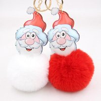 Fluffy Santa Claus Keychains For Key Cover Pompom Faux Fur Ball Father Christmas Gift Keyring Holder Pendant Accessories