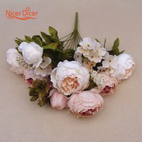 New Artificial Fake Peony Silk Purple Flowers Bridal Bouquet...