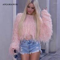 ANJAMANOR Neon Fringe Kadın Mahsul Büyük Boy Triko Örme Kazak Moda Giyim Kadın Kış Püskül Jumper D48-AI331 Tops