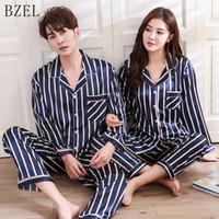 BZEL Pigiama in raso di seta Imposta coppie Pigiameria a righe Pijama Femme Pigiama maniche lunghe Abbigliamento per gli amanti Abbigliamento casual per la casa