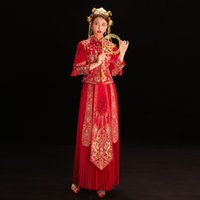 Womens Overseas Chinese Style Marriage Suit Red Royal Women festa di nozze di stile cinese sposa Ricamo Cheongsam