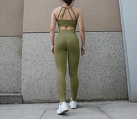 Nylon Spandex Olive Green Seamless Yoga Pants And Sports Bra...