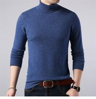 Mens Autumn Designer Sweaters Turtle Neck Long Sleeve Solid ...