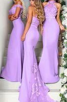명예 드레스 맞춤 제작의 3D 손으로 만든 꽃 라일락 들러리 드레스 긴 인어 홀터 톱 웨딩 게스트 드레스 파티 드레스 메이드