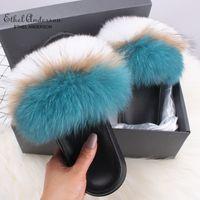 Ethel Anderson Genuine cabelo Fox chinelos da senhora aleta Sapatos Flop Slides Summer Beach Fox Fur Slides Sandals mais a mulher T200106