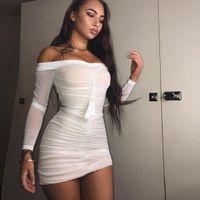 7608 estación europea y americana blanco y negro borla de gasa de manga larga sin tirantes plisado vestido de mujer sexy