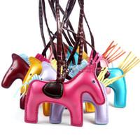 Püskül Pony Anahtar Toka Yaratıcı El Yapımı Dikiş Anahtarlıklar Deri PU Küçük At Erkek Kadın Çift Tuşları Yüzük TTA946-6