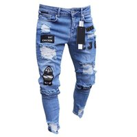 Männer Stretchy zerrissene dünne Biker-Stickerei-Druck Jeans im Used-Loch gegurtet Slim Fit Denim Zerkratzt Qualität Jean