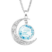 Христианская Библия Луна ожерелья Для женщин Католическая церковь Писание Стекло Время Камень Кабошон кулон цепи 2019 Ювелирные Изделия