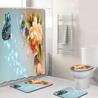 4PCS / مجموعة أنيقة الزهور نمط دش الستار غطاء المرحاض حصيرة عدم الانزلاق البساط مجموعة الحمام ستارة الحمام للماء مع 12 خطاف