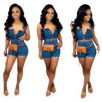 2019 Mulheres Blue Jeans Treino Casual Denim Outfit Jumpsuit Romper 2 Piece Set Blue Top + Super Shorts Mulheres Denim Botão