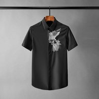 Men's Casual Shirts Eagle Embroidered Mens Luxury Short Sleeve Solid Color Male Shrits Plus Size 4xl Slim Fit Party Man