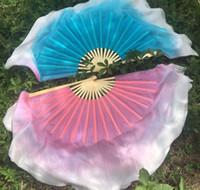 مرحلة ارتداء 1pair (1r + 1l = 2 قطع) الصينية قصيرة الحرير الرقص مروحة 30 سنتيمتر الخيزران + 10cm نصف دائرة الجانبين اللون التدرج