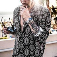 남성 봄 새로운 패션 인쇄 셔츠 플러스 사이즈 3XL 의류 캐주얼 비즈니스 하와이 긴 소매 옷 깃 드레스 셔츠 탑