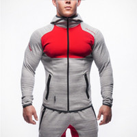 Panelled GYM Tracksuits Mens Slim Casual Jogger Zipper Hoode...