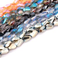 Hot sale 350pcs lot9*6mm Crystal Drop Crystal Bracelet Top Quality Faceted fan-shaped Teardrop Glass Beads With Psychedelic Jewelry Bracelet