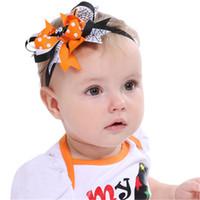 Çocuklar Cadılar Bayramı Saç Yaylar Grogren Kurdele Yaylar Örümcek Yarasalar Çocuklar Bantlar Düğüm Toddler Sıkı Hairwrap Saç Aksesuarları Toptan KFJ695