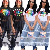 Donne Eye Lip stampato Garza Abiti Runway Manica corta T-shirt Patchwork Tulle Gonna Ladies Summer Beach Abito lungo AAA2243