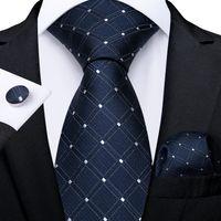 LIVRAISON FAST LIVRAISON Cravate Set Mode Bleu Blanche Vérifiez DOT SOIR JACQUARD JACQUARD Tissé Crousillots carrés de poche Carré Business Business N-7217