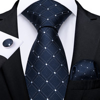 Fast Shipping Tie Set Fashion Blue White Check Dot Men's Silk Jacquard Woven Necktie Pocket Square Cufflinks Wedding Business N-7217