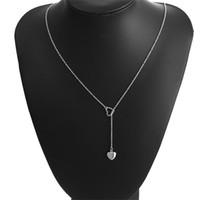 Colar de Pingente de coração Cores Prata Forma de Ouro Y Forma Charme Colares com Cadeia de Ligação Coração Designs Presente Da Jóia para Mulheres Meninas Dama