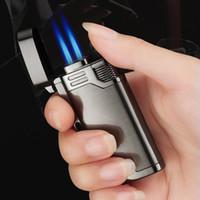 Neue Ankunft Mit Schlüsselbund Gasfeuerzeug Doppel Blaue Flamme Spritzpistole Elektronische 1300C Butan Taschenlampe Turbo Feuerzeug Zigarettenanzünder