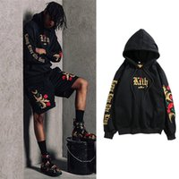 2019 Street Hip- hop Men And Women Embroidery Black Gold Swea...