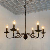 American Loft Vintage Rustic Brown 6-Light 78 centímetros de metal Candelabra Cadeia Lustre Para Sala de Jantar Mesa de suspensão aparelho de iluminação