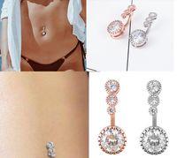 مثير التعلق السرة خواتم زر البطن البطن ثقب كريستال الجراحية مجوهرات الصلب امرأة الجسم الحديد للنساء اكسسوارات GD336