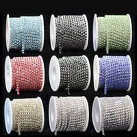 9meters / rollo ES6 2mm cristalino claro de plata base de la taza de alta densidad Rhinestone DIY cadena de garra Recorte Coser accesorios de la joyería Nuevo precio barato