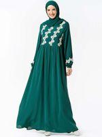 Roupas étnicas Árabe Wear's Wear Plant Bordado Big Pendulum Long Abaya Vestidos Ramadan Ed (Excluindo Headscarf) Kaftan Vestido Muçulmano