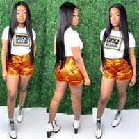 1set / drop Estate camuffamento di colore i bicchierini di donne in due pezzi tuta lettere stampare T shirt e pantaloncini Outfits Sportswear Abbigliamento D52811