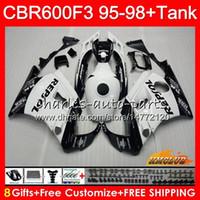 Cuerpo + tanque para HONDA CBR 600cc 600F3 CBR600 F3 95 96 97 98 Repsol blanca 41HC.13 CBR 600 F3 FS CBR600FS CBR600F3 1995 1996 1997 1998 carenado
