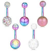 Belly Button Acciaio Anelli Piercing Ombligo Piercing ombelico sexy ombelico Orecchini Arcobaleno Body Jewelry pircing